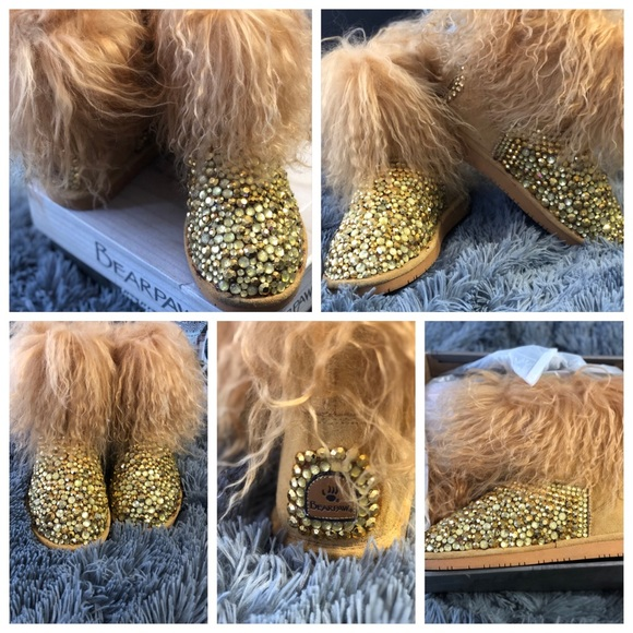 Custom Rhinestone Fur Bearpaw Boots